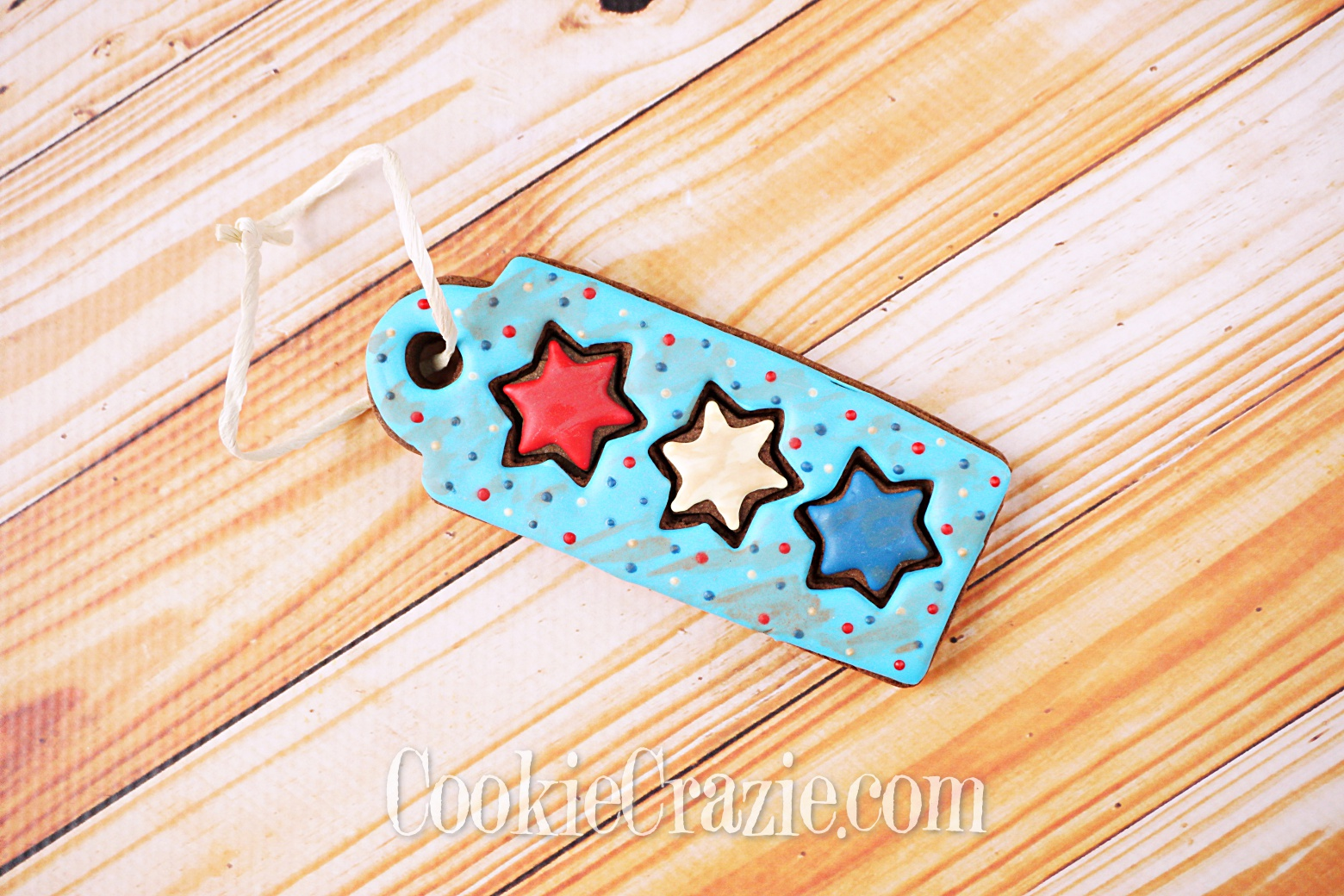 USA Star Trio Gift Tag Decorated Sugar Cookie YouTube video  HERE