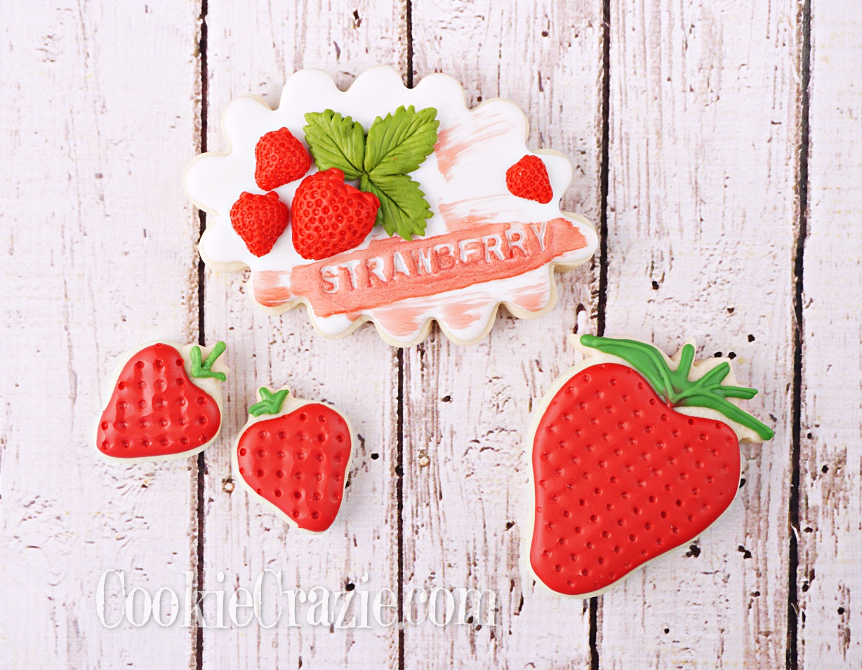 Strawberry Plaque Decorated Sugar Cookie YouTube video  HERE