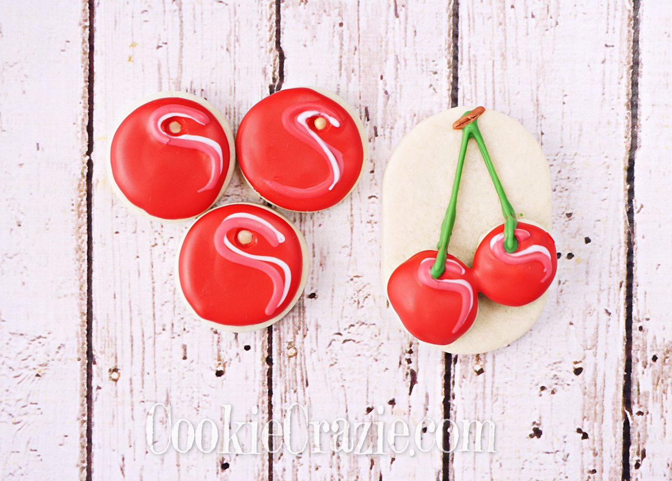 Cherries Decorated Sugar Cookies YouTube video  HERE