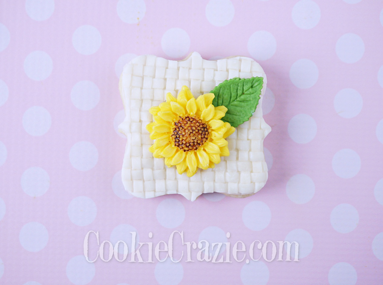 Floral Square Plaque Decorated Sugar Cookie YouTube video  HERE