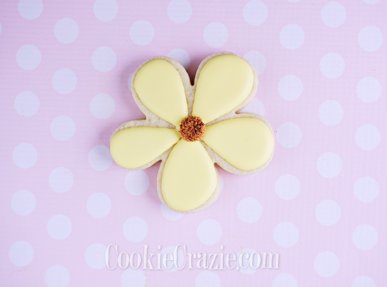 Five Petal Yellow Flower Decorated Sugar Cookie YouTube video  HERE