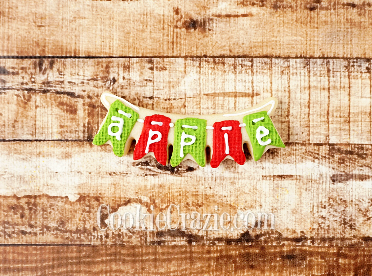 Apple Harvest Bunting Decorated Sugar Cookie YouTube video  HERE