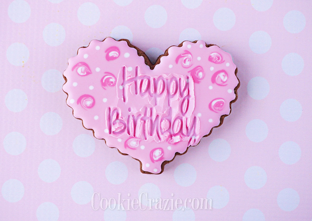 Birthday Heart Decorated Sugar Cookie YouTube video  HERE