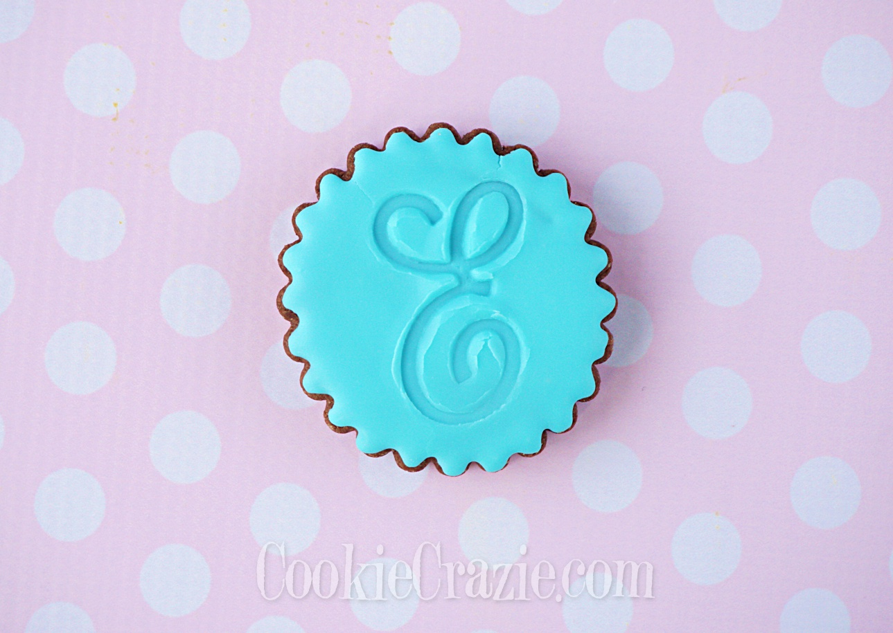 E monogram decorated sugar cookie YouTube video  HERE
