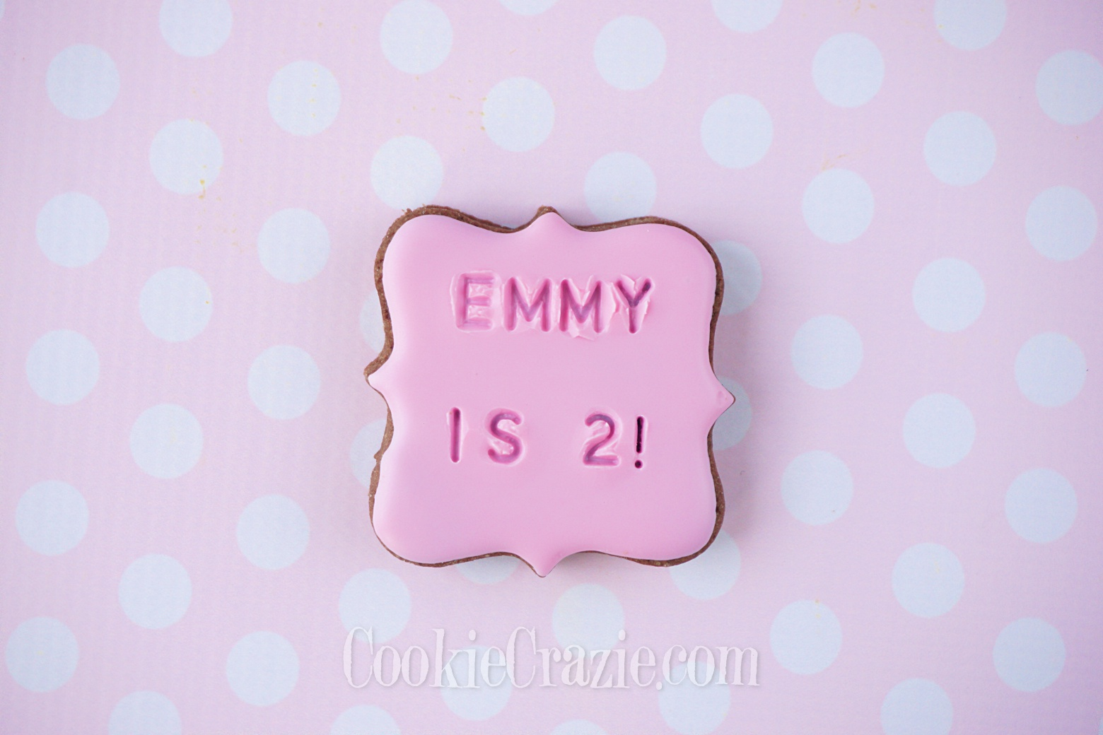 Emmy is TWO Birthday Plaque Decorated Sugar Cookie YouTube video  HERE