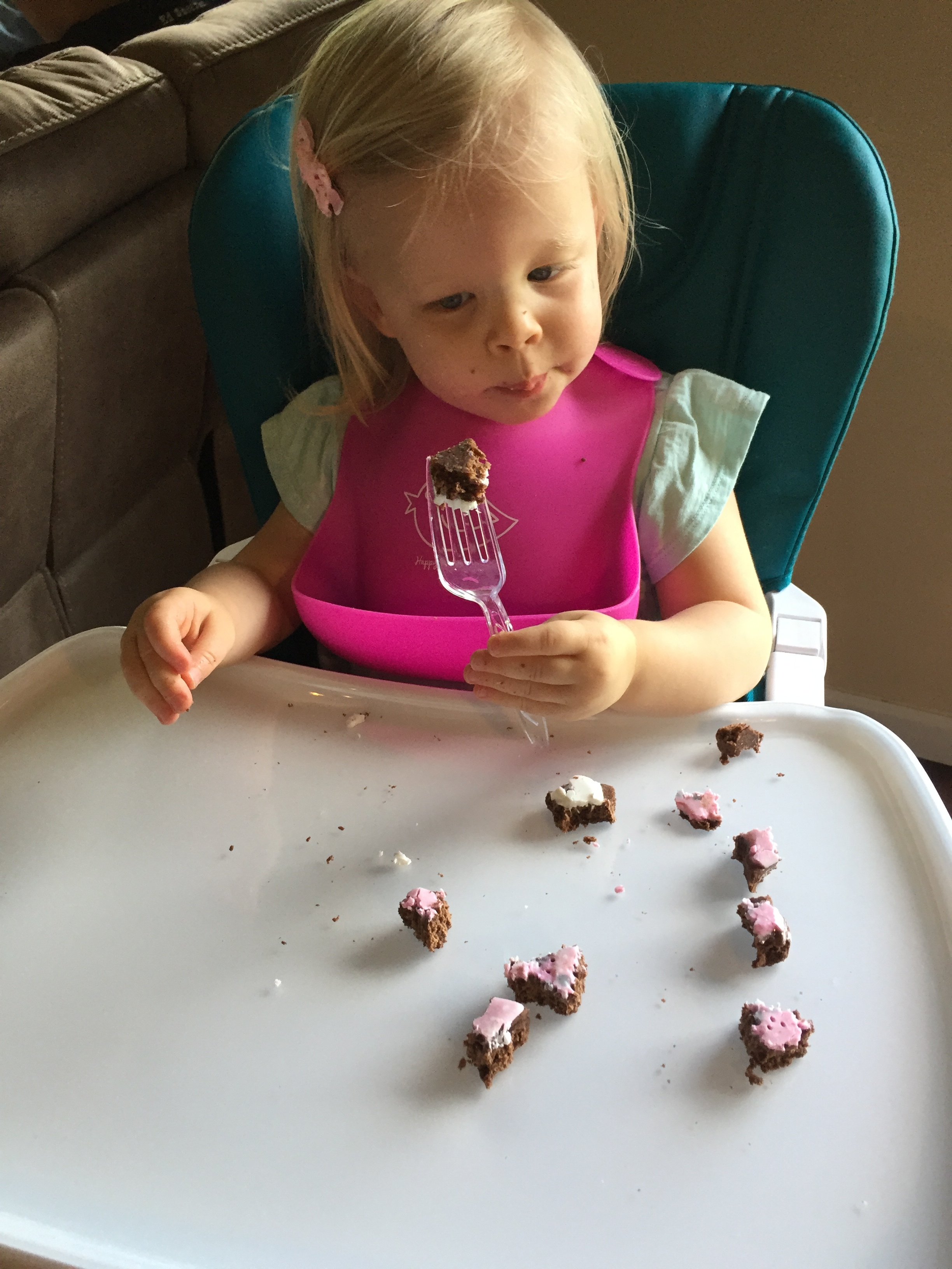 And finally…..Emmy wanted to use a fork. So Momma broke it up into pieces for her. :)