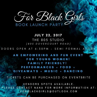 For directions or to purchase tickets     https://www.eventbrite.com/e/for-black-girls-book-launch-party-tickets-34931243289