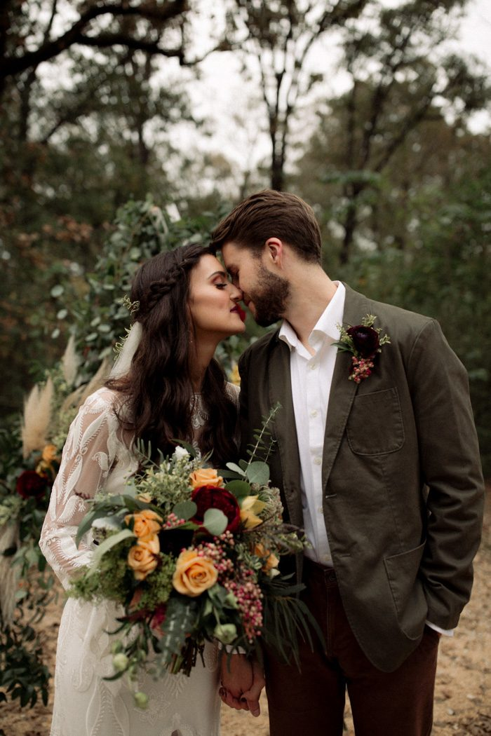 Mustard + Forest Intimate Wedding Inspiration on Junebug Weddings - My first ever styled shoot. DREAMS. Intimate. Bohemian Gown. A-Frame Ceremony Backdrop. Burgundy & Mustard Gold Accent. Farm-to-Table Candlelit Dinner.