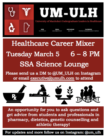 Want to know more about what these careers entail? Are you interested in Pharmacy, Genetic Counselling, Dietetics? Come check out out event to learn more about 'em!