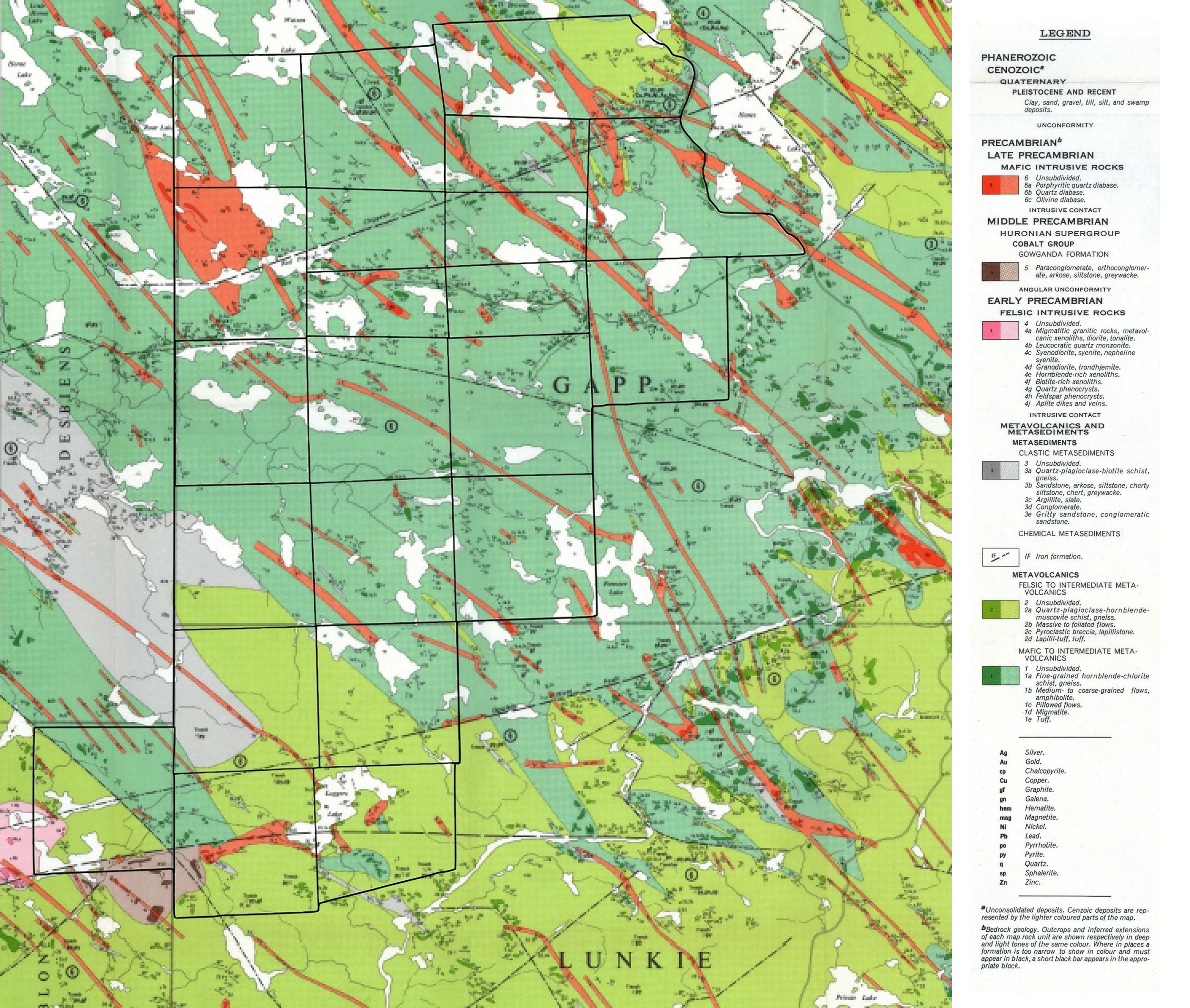 Figure 1. Batchewana property claim group (outlined in black) with regional geology.