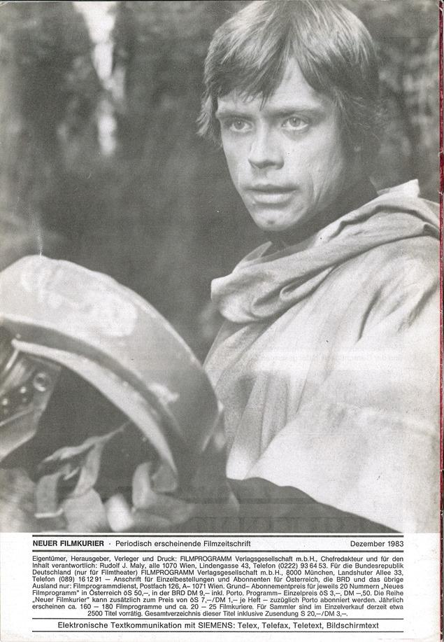 Neur Film-Kurier  Nr. 325 (Back Cover)