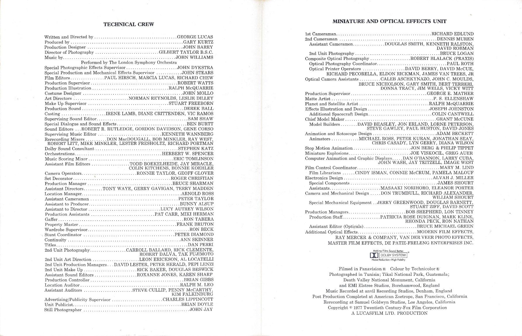 Star Wars  Credit Sheet Interior (U.K. Version)