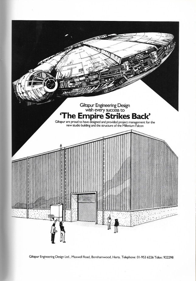 This spot for Giltspur Engineering Design sports a truly hamburger-like rendition of the  Millennium Falcon , which is odd given that the design had been well established in the first film.