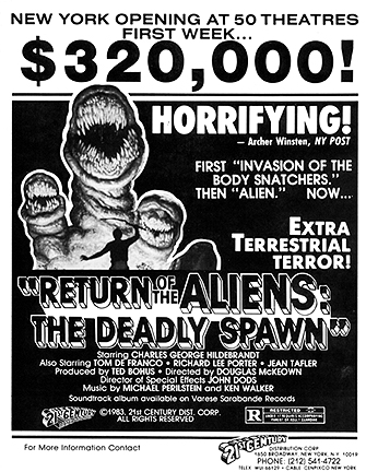Ad for  The Deadly Spawn  (though this example is lacking the  Revenge of the Jedi  trailer snipe) - Via Pinterest