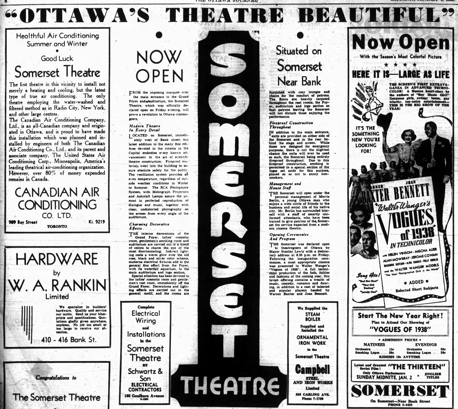 Somerset Opening -  Ottawa Journal  (January 1st, 1938)