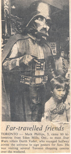 Darth Vader makes an appearance at a shopping mall in Toronto, Ontario in 1977.