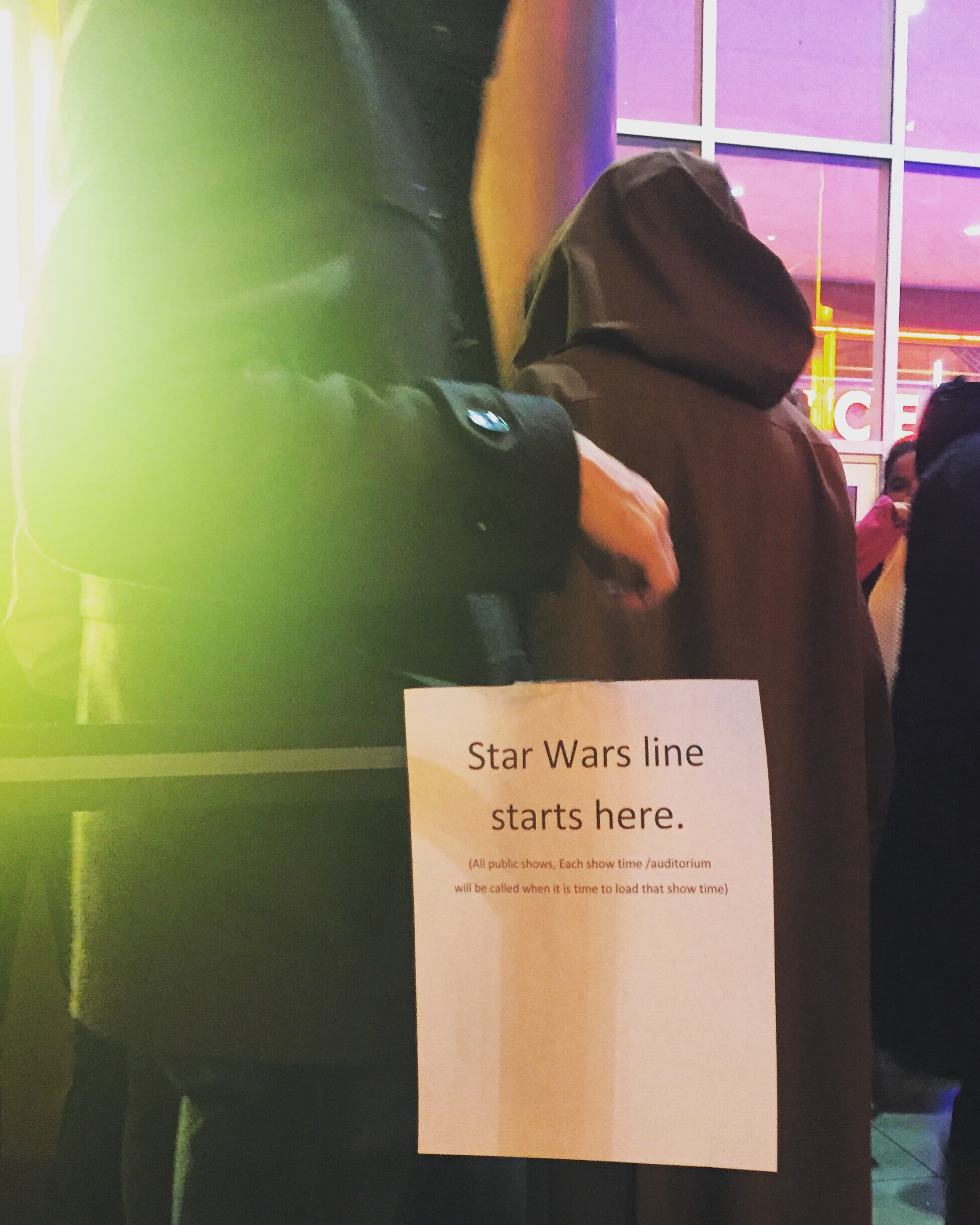 For a Jedi it is time to line up as well - Opry Mills Regal Cinema on opening night for  The Last Jedi