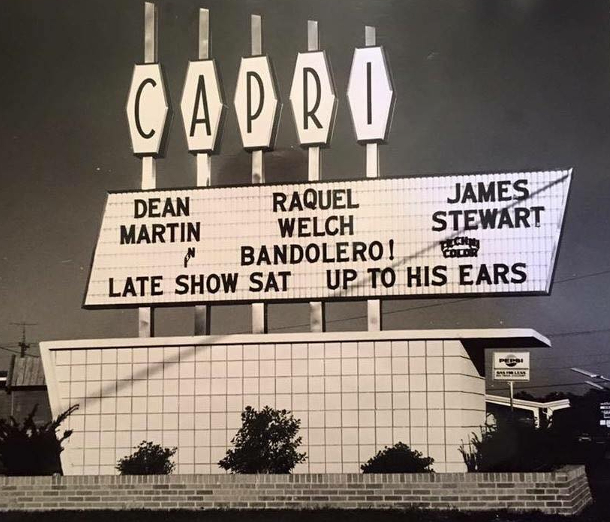 Then named the Capri, the roadside marquee was similar in the 1960s.