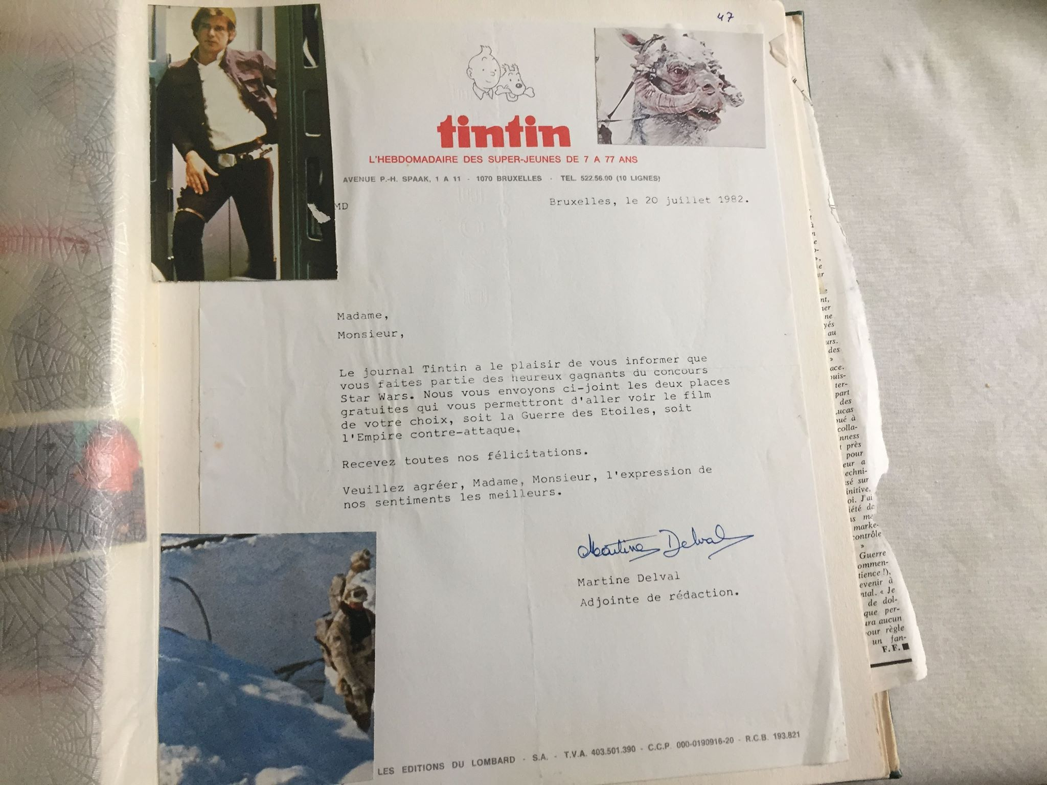 Letter from  Tintin  informing Zia of his free movie tickets for winning the trivia contest