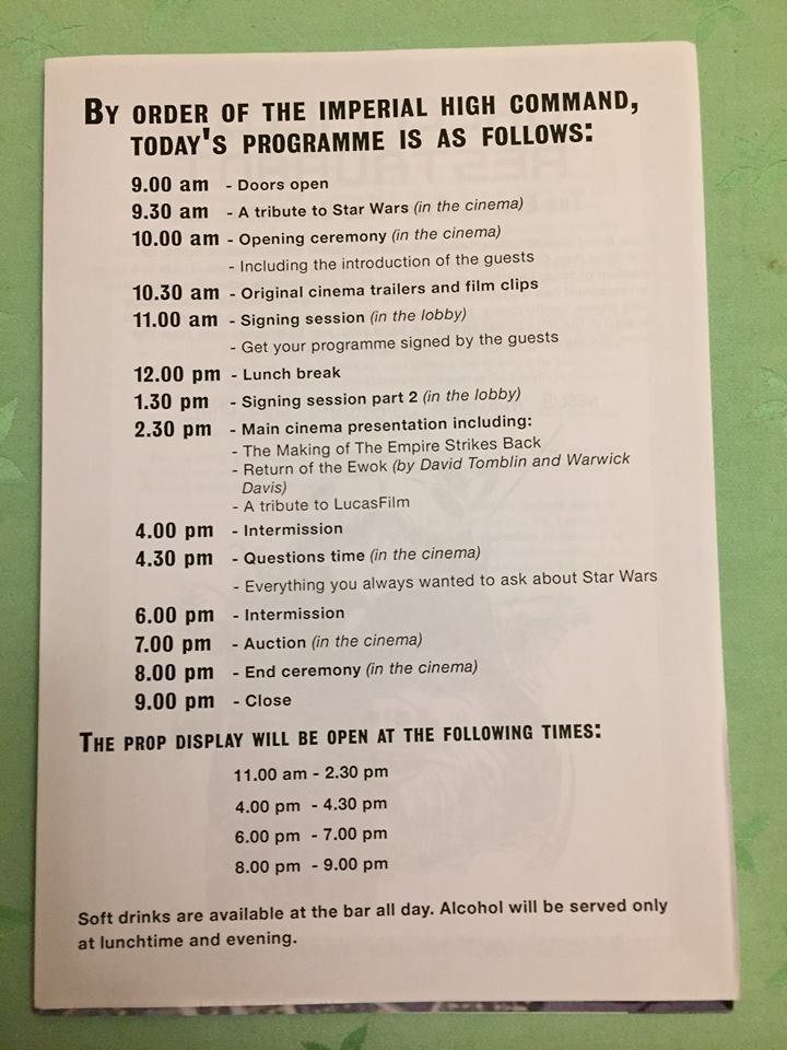 The Elstree Star Wars Day Schedule (November 13th, 1994) - From the Collection of Zia Rezvi
