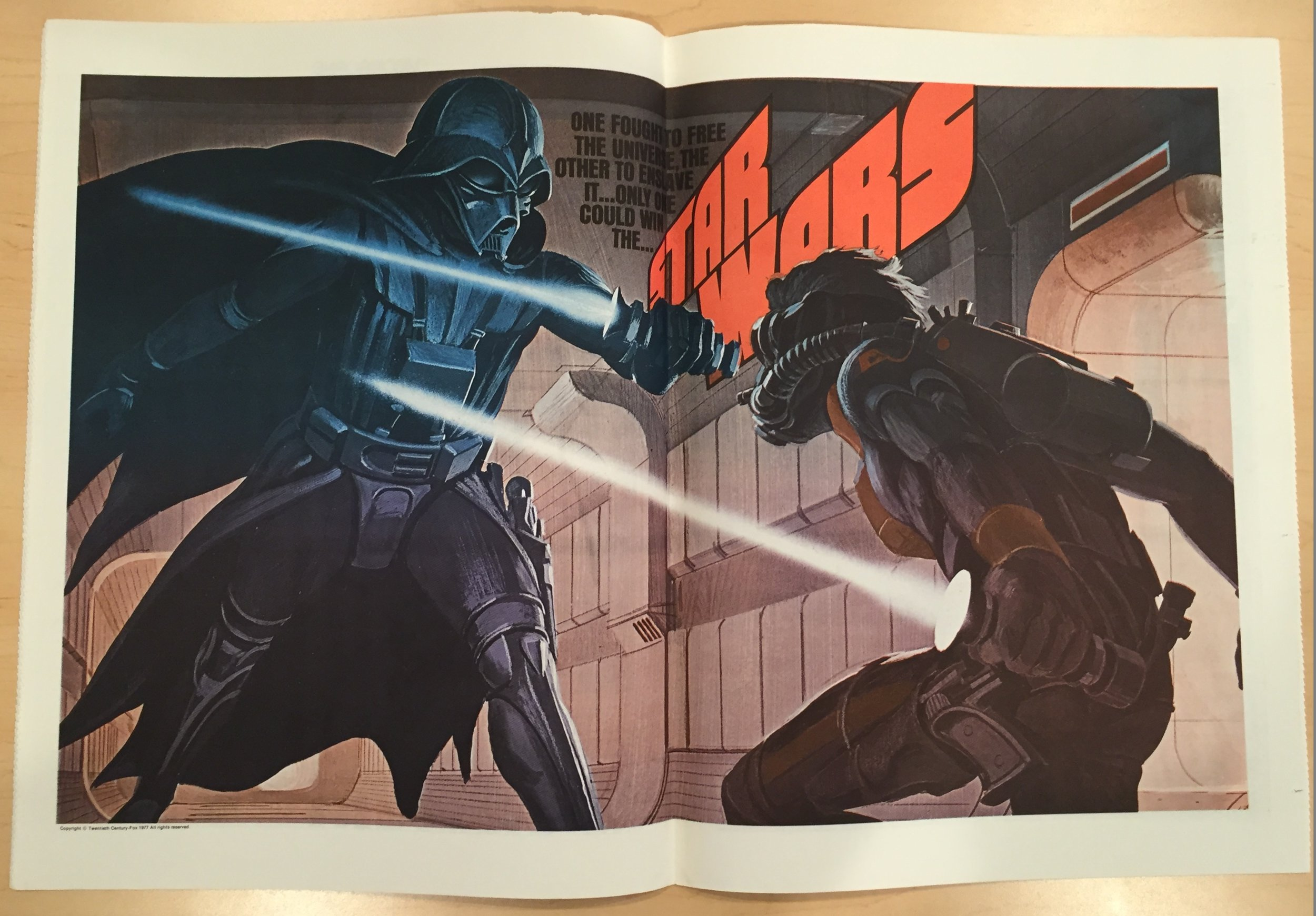 Two-page spreads of special artwork were a staple of  Mediascene , such as this one for Nov-Dec 1976.