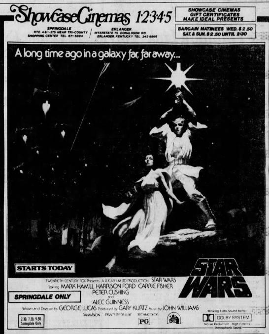 Star Wars  Showcase Cinemas opening day ad - via  The Cincinnati Enquirer