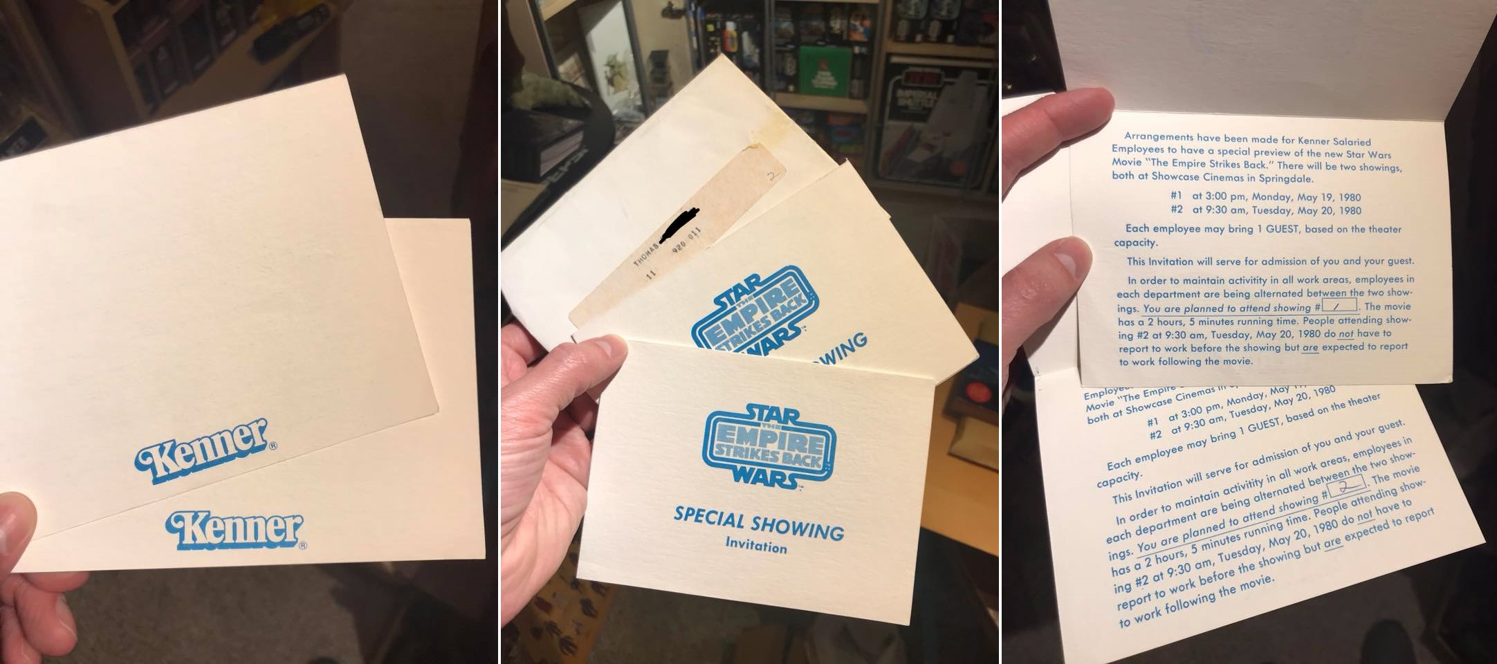 The Empire Strikes Back  Kenner employee special preview invitations - Courtesy of Sean Lehmkuhl