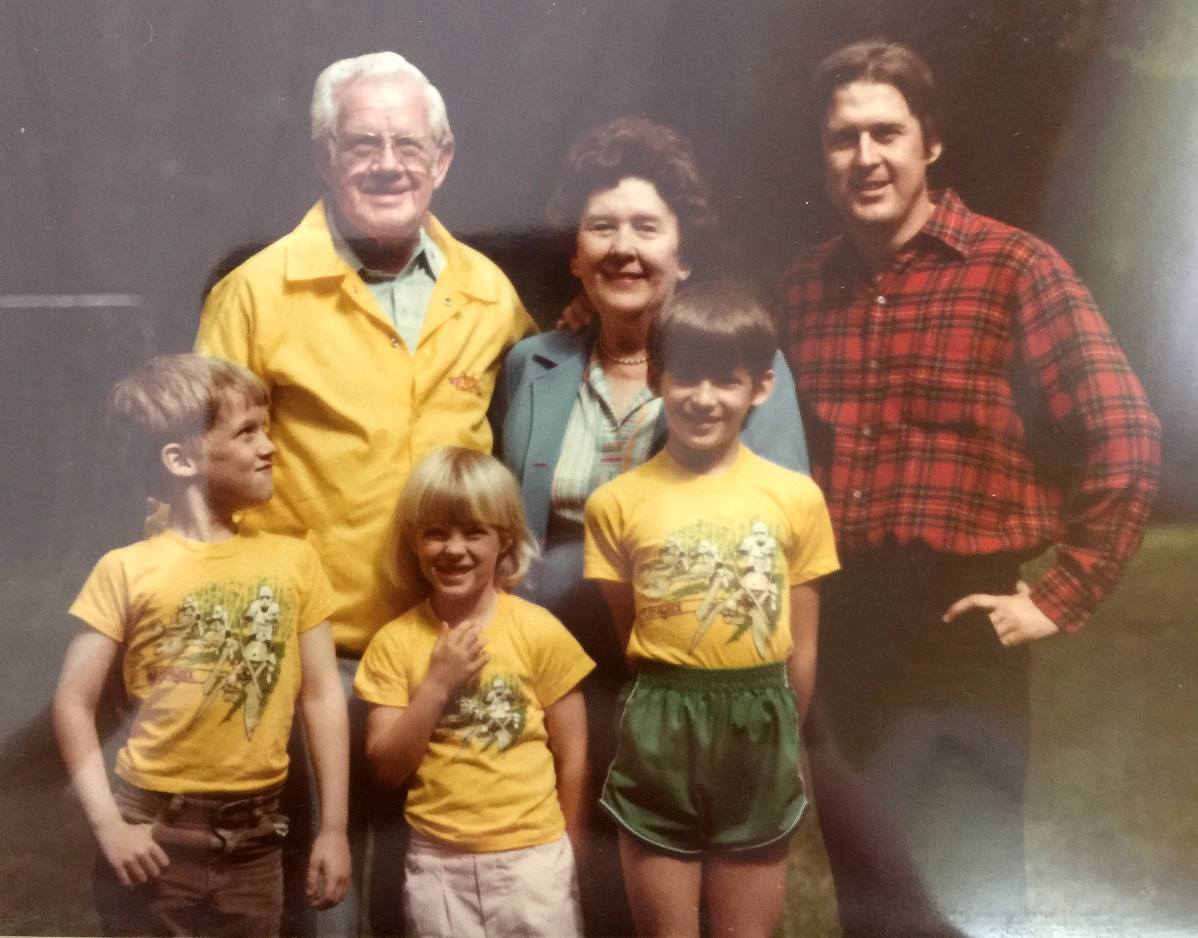 Dave Brott (left) and family in 1983, donning coordinated Biker Scout t-shirts.