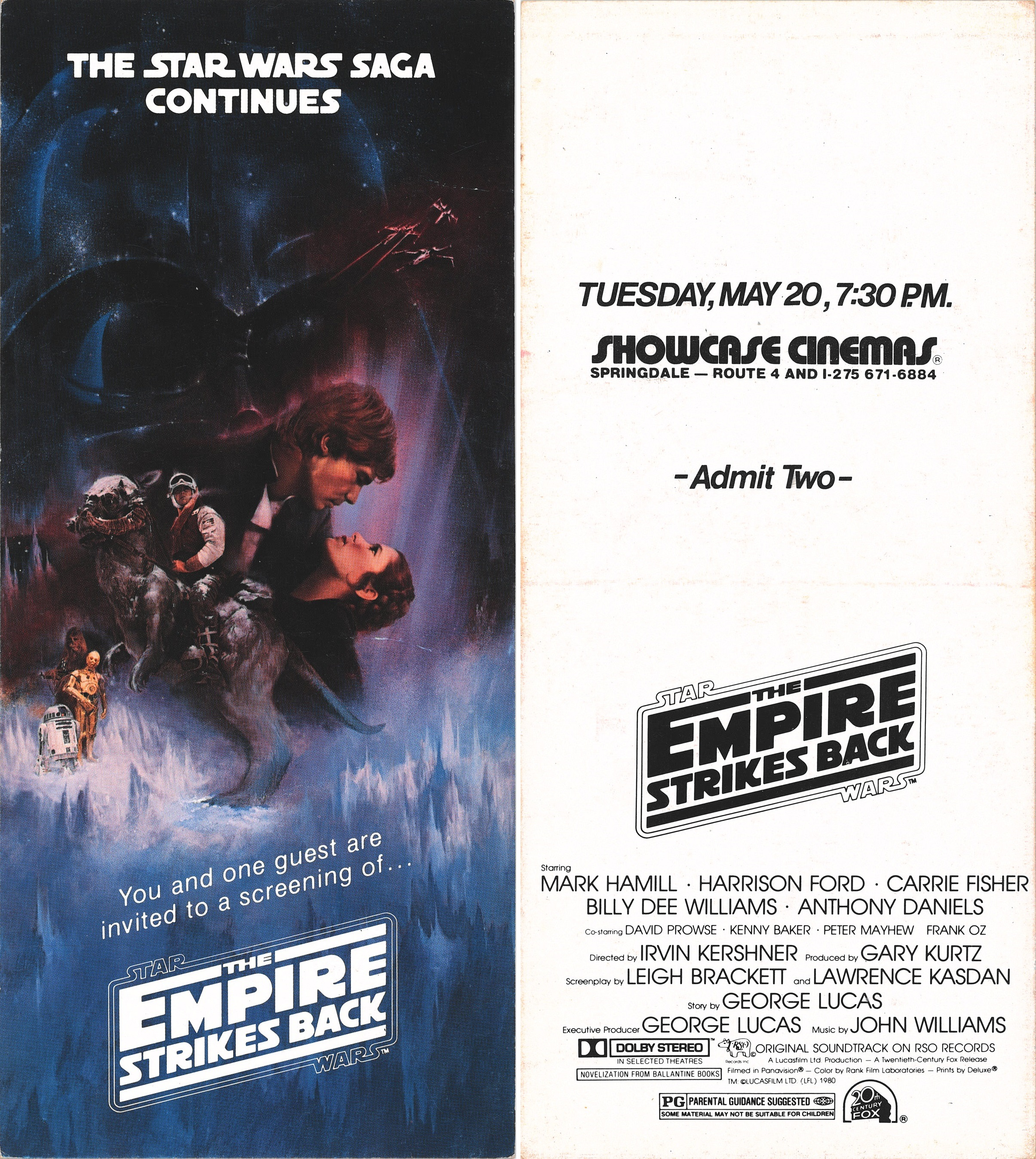 The Empire Strikes Back press preview screening ticket for the Springdale Showcase Cinemas
