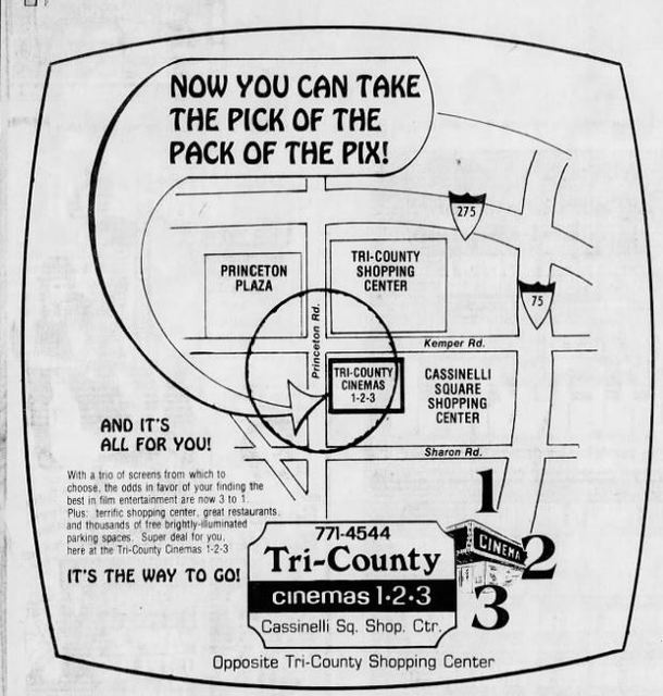 July, 1975 advertisement for the Tri-County Cinemas in Springdale, OH - via CinemaTreasures.org