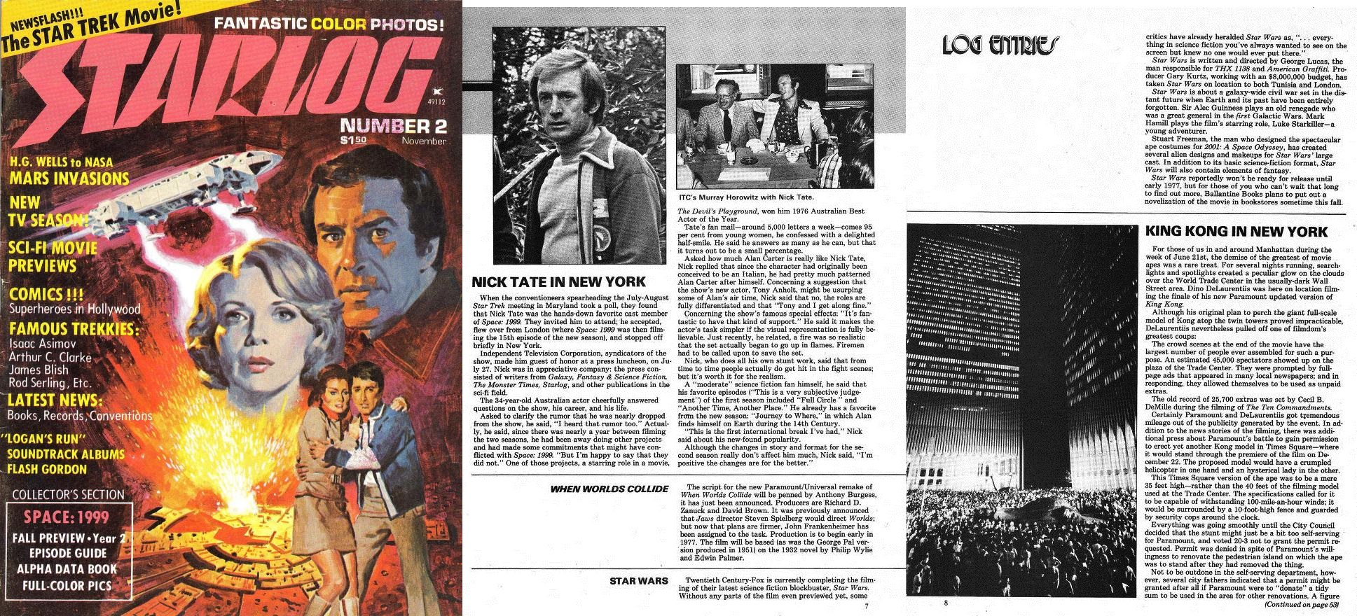 November 1976 Issue of Starlog Magazine, which featured a short log entry announcing the production of  Star Wars  - via BattleGrip.com