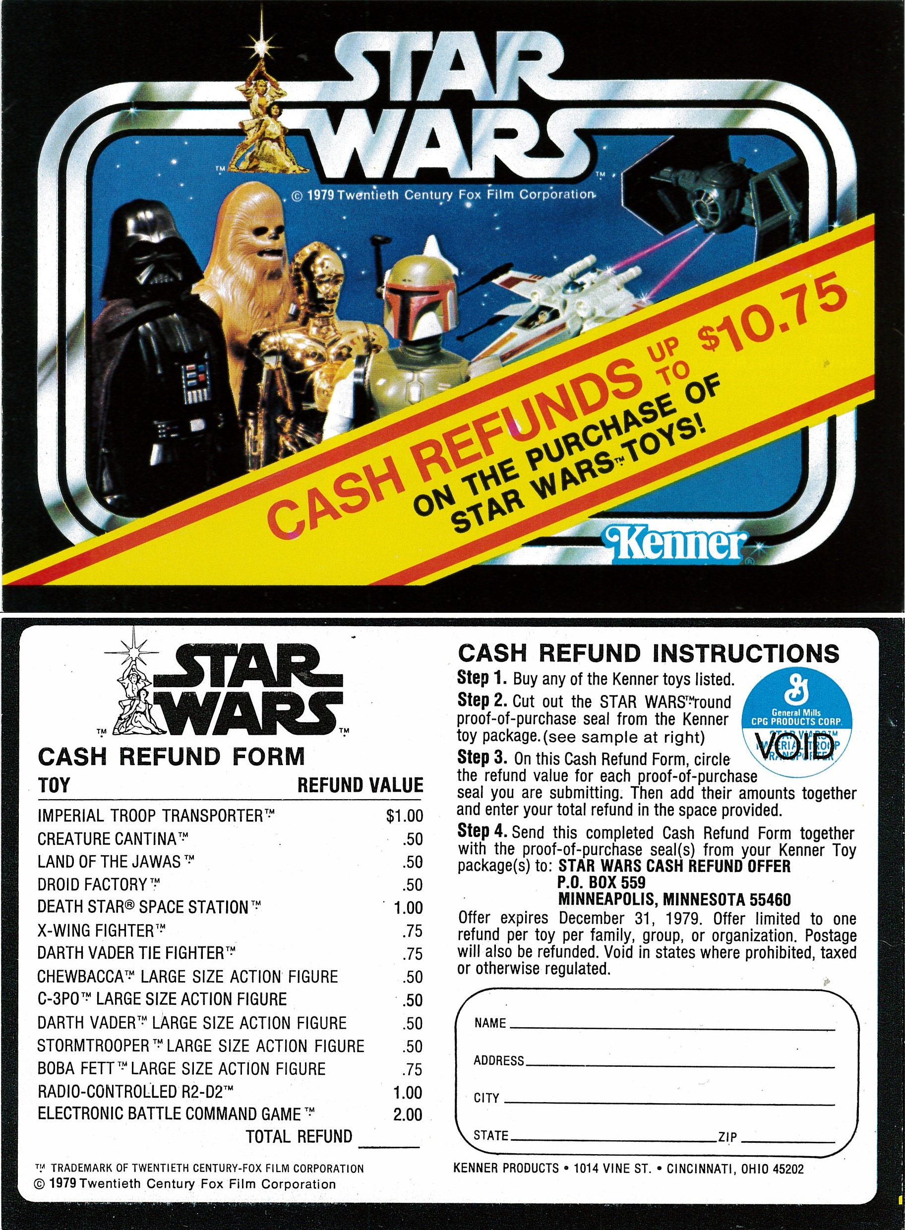 Kenner's 1979 Cash Rebate booklet distributed in theaters during a  Star Wars  re-release.