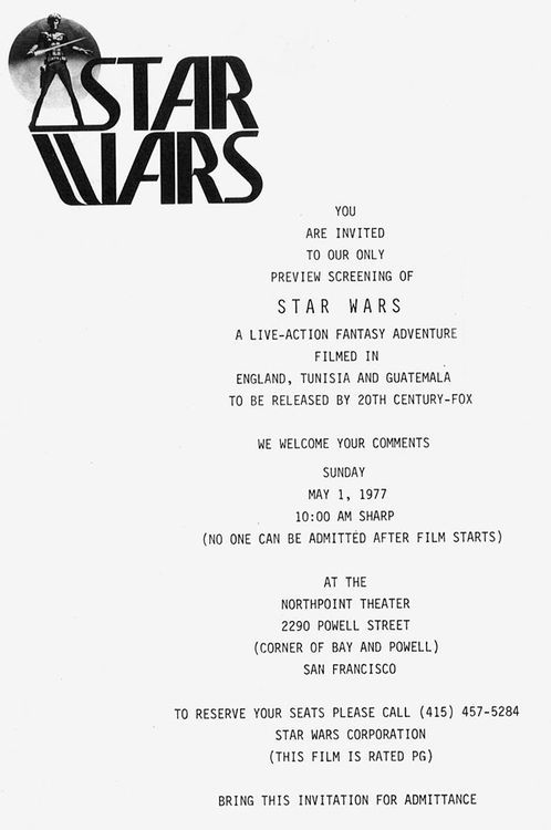 Invitation to the May 1st, 1977 public preview screening of  Star Wars  at the Northpoint Theatre in San Francisco, CA.
