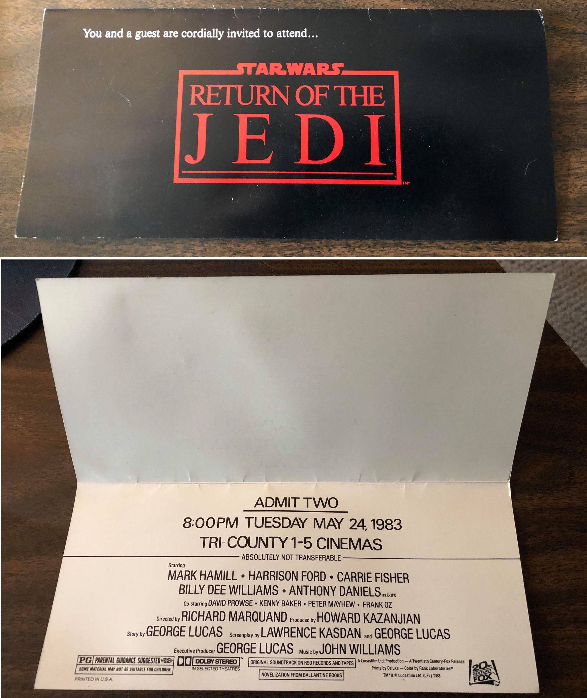 Nilmini Klur's special preview pass for  Return of the Jedi  at the Tri-County Cinemas in Springdale, OH.