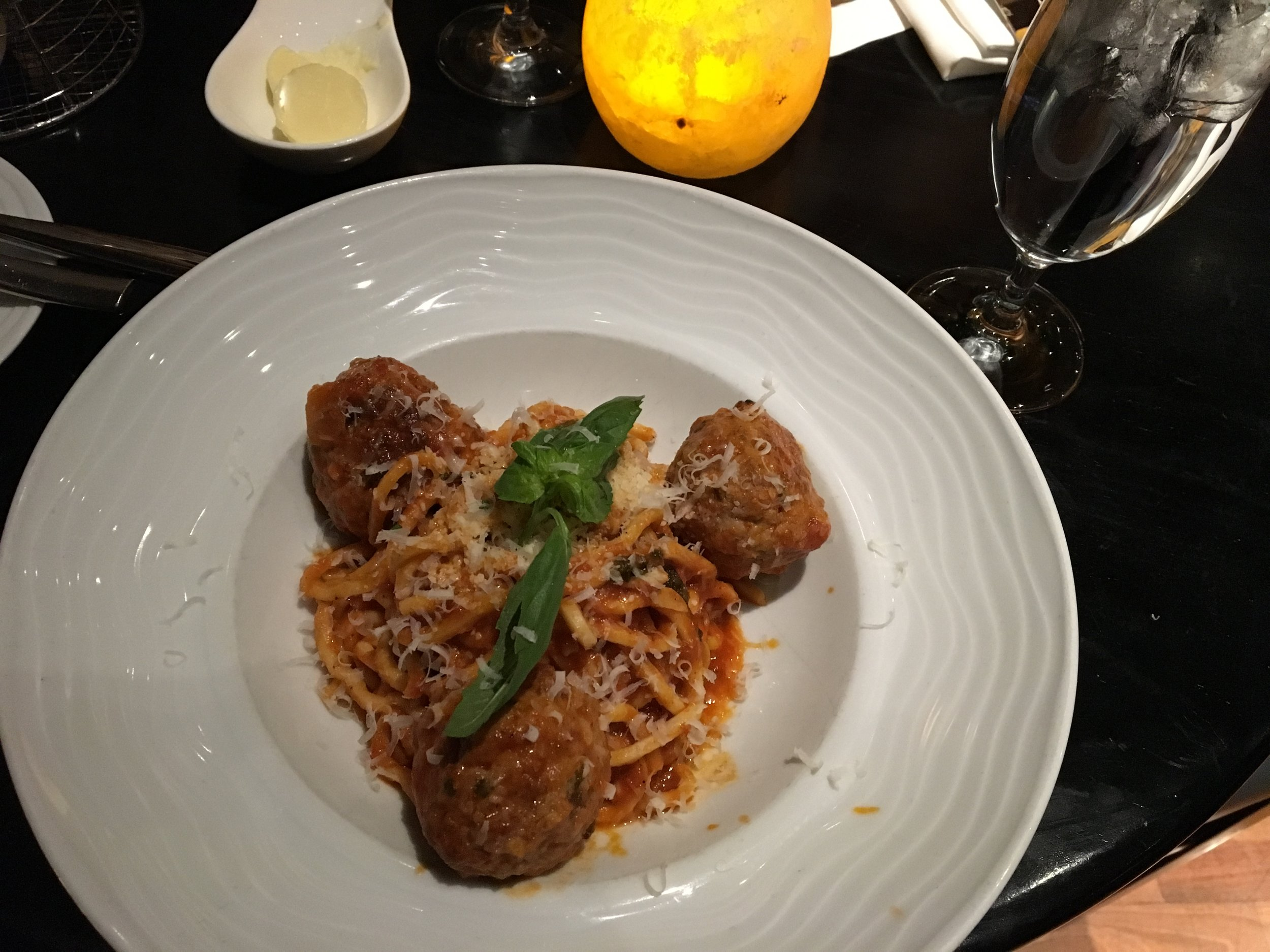 I ordered the Spaghetti Chitarra and this was anything by ordinary spaghetti. Trust me. It had San Marzano Tomato Sauce, Basil, Parmigiano with Italian Beef Meatballs...please hold while my mouth is watering.
