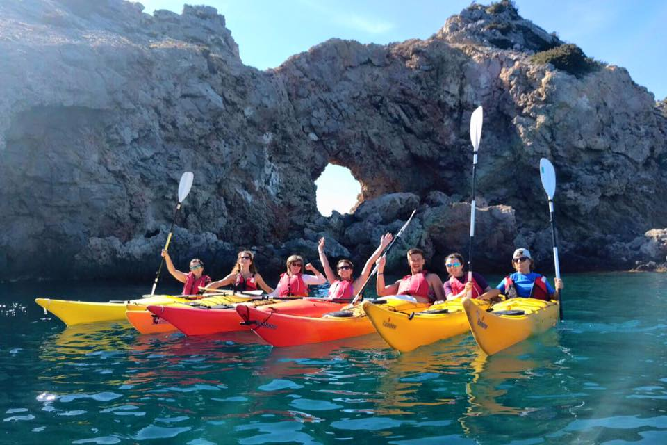 "ABLA Ibiza doing kayak with ""KAYAK Ibiza"""