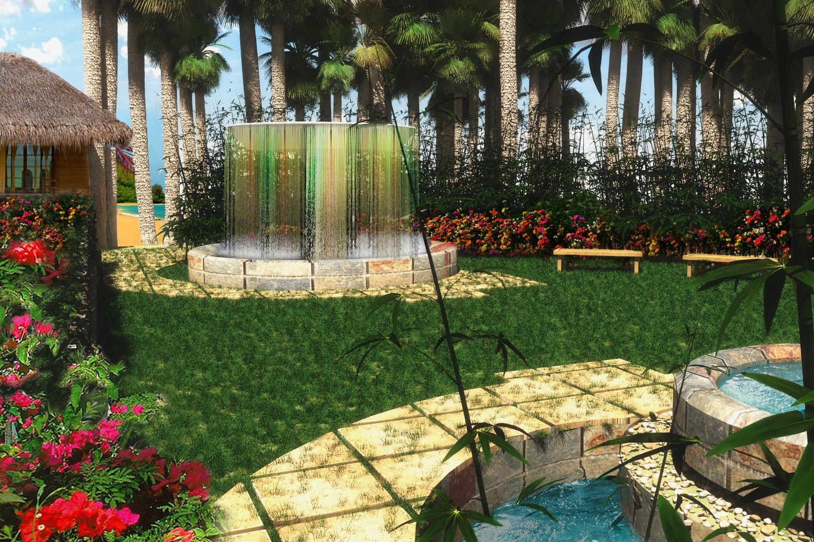 Serene Spa Garden - Outdoor Wet Amenity Area -Kapalua, Maui, HI