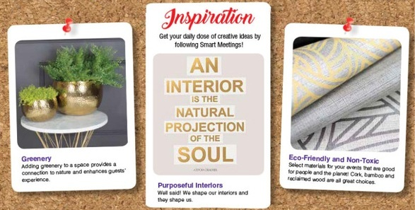 - Pinspiration for Your Event: New Year, Well SpacesCertified eco-designer, expert in purposeful wellness interiors, and EcoChi President,Debra Duneier has compiled a board that inspires mindfulness, self-reflection, and…Continue Reading >