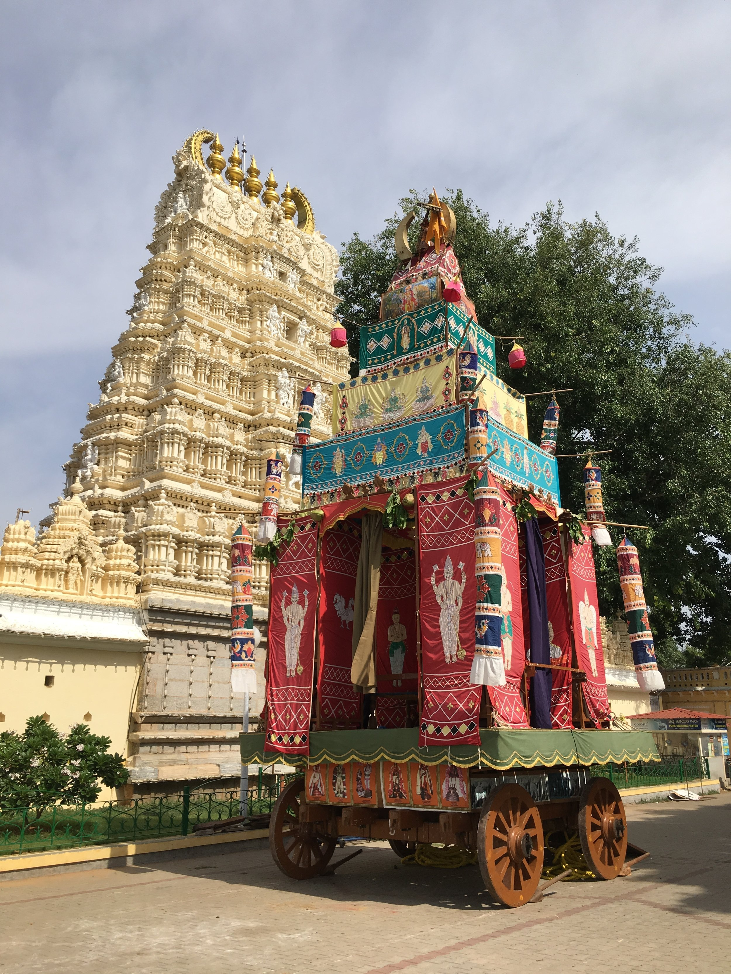 "- We visited the Mysore Palace and within the palace grounds are 9 temples. One is dedicated to lord Shiva. One reviewer stated after touring the temple ""As you step inside, Trinetra - the three-eyed deity draws your dedication.""The red float is part of the festival to their god,"
