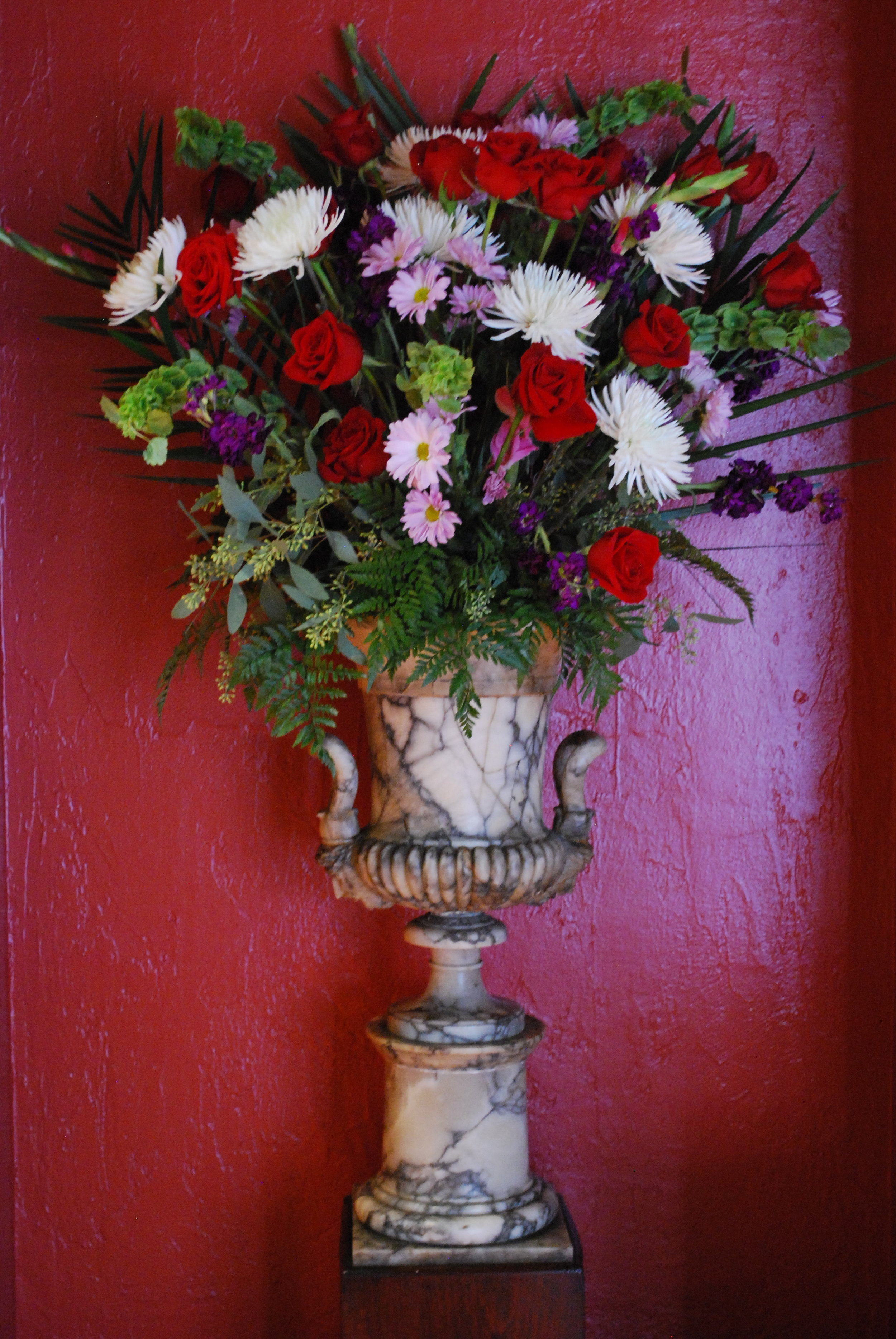 One of the beautiful flower arrangements designed by the flower guild.