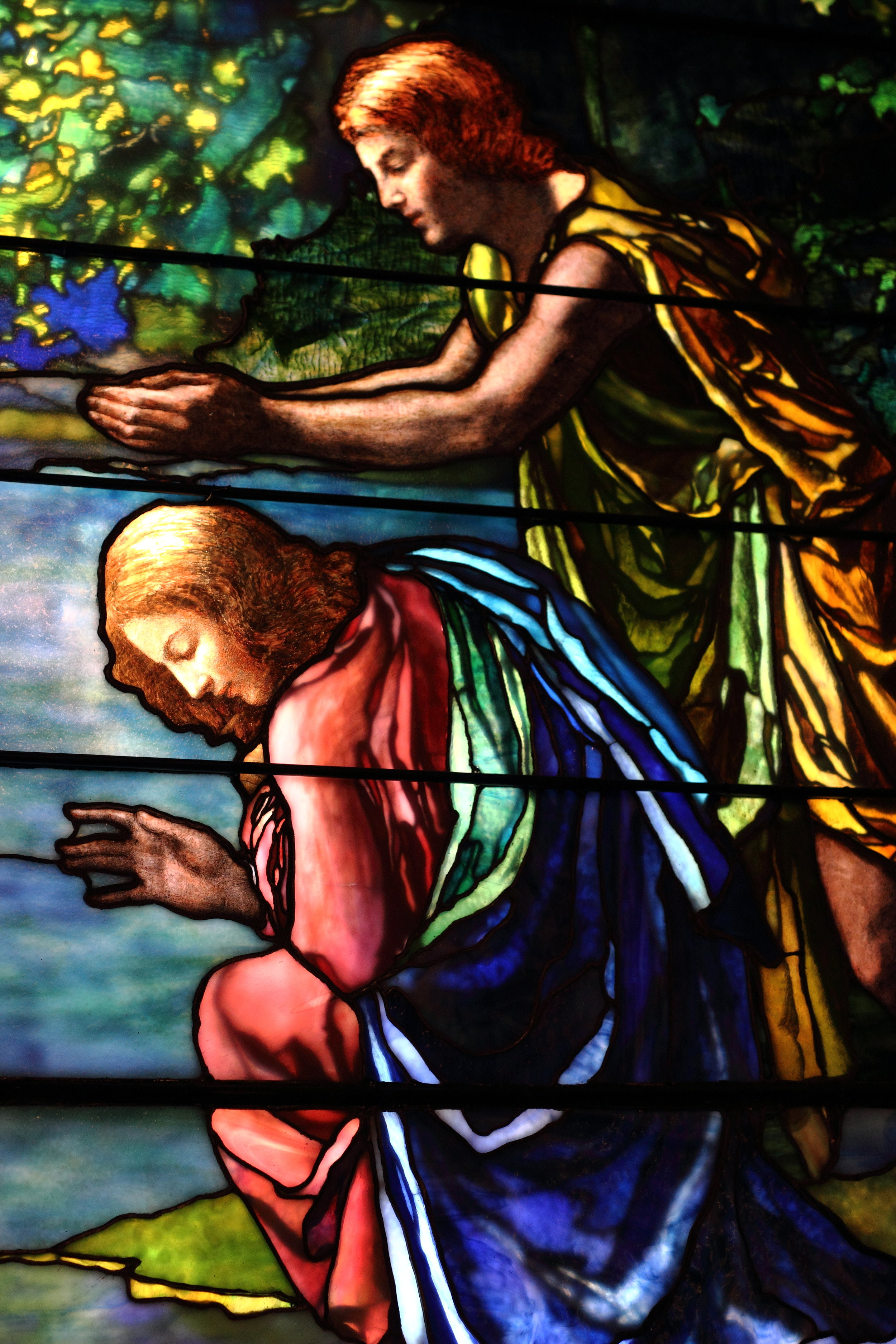 Stained glass in baptistery. Photo by Ashton Pilkerton.