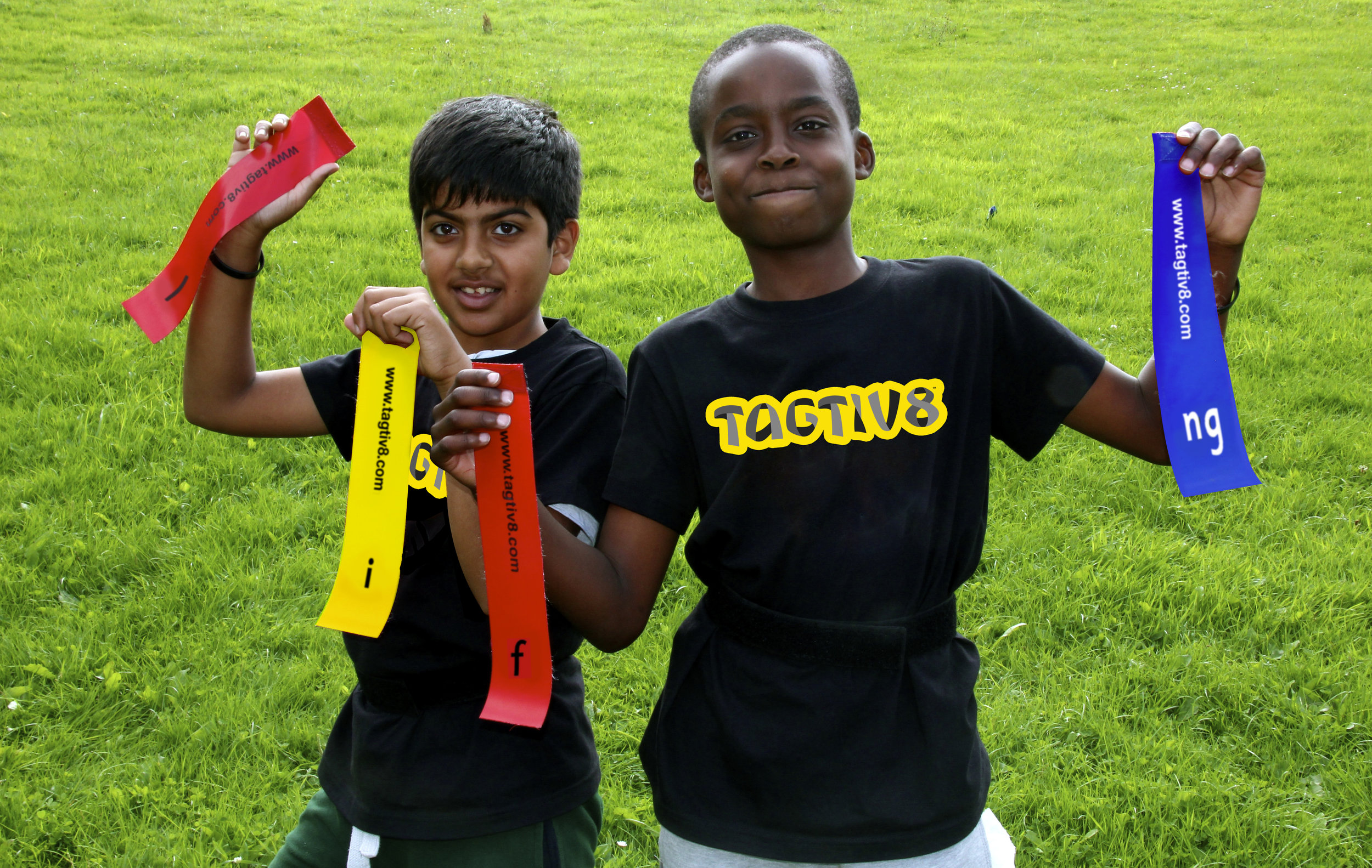 Boys wearing their Tagtiv8 T-Shirts