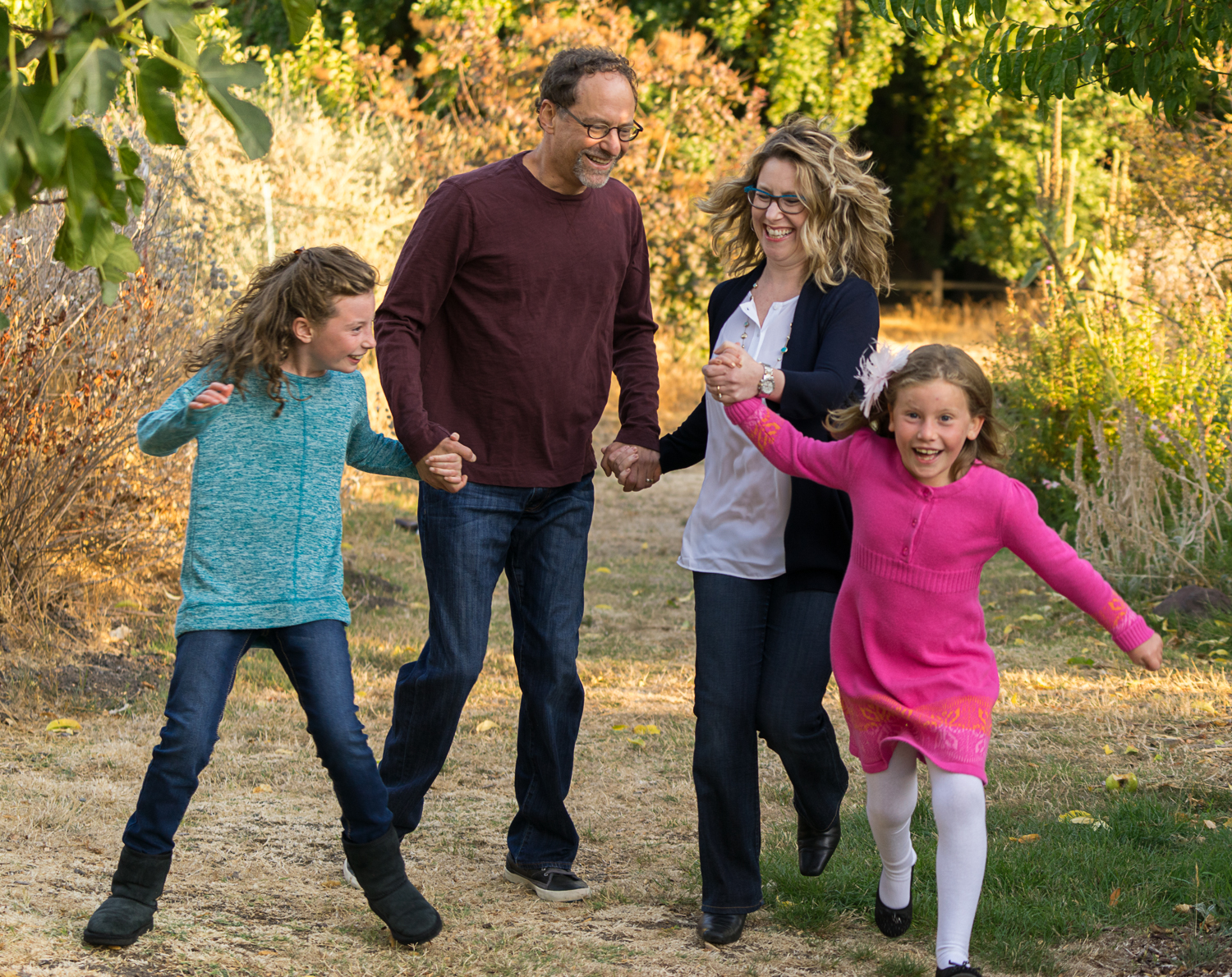 family of four running at the park-Danville lifestyle photograph