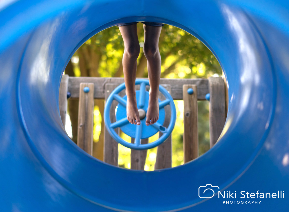 six year old girl on the play structure-Danville children's photography