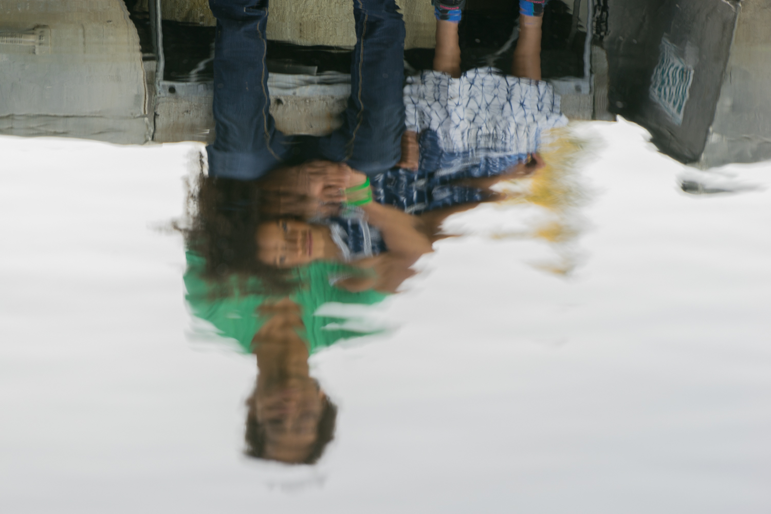 brother and sister water reflection-Lafayette fine art family photography