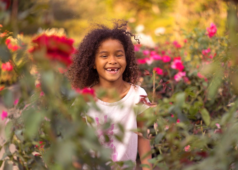 six year old girl in the garden-Danville children's photography
