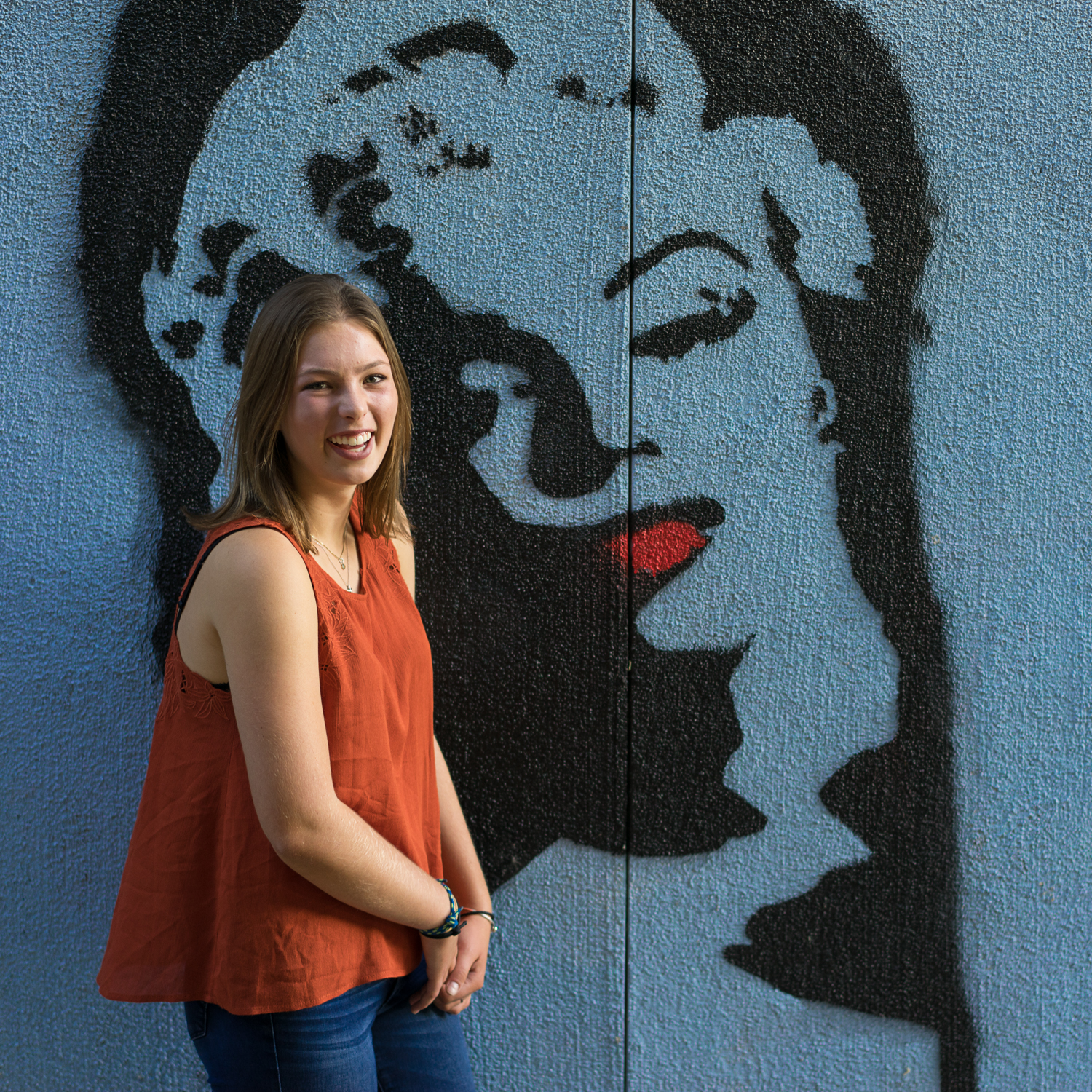 senior girl with mural-Athenian School senior photography