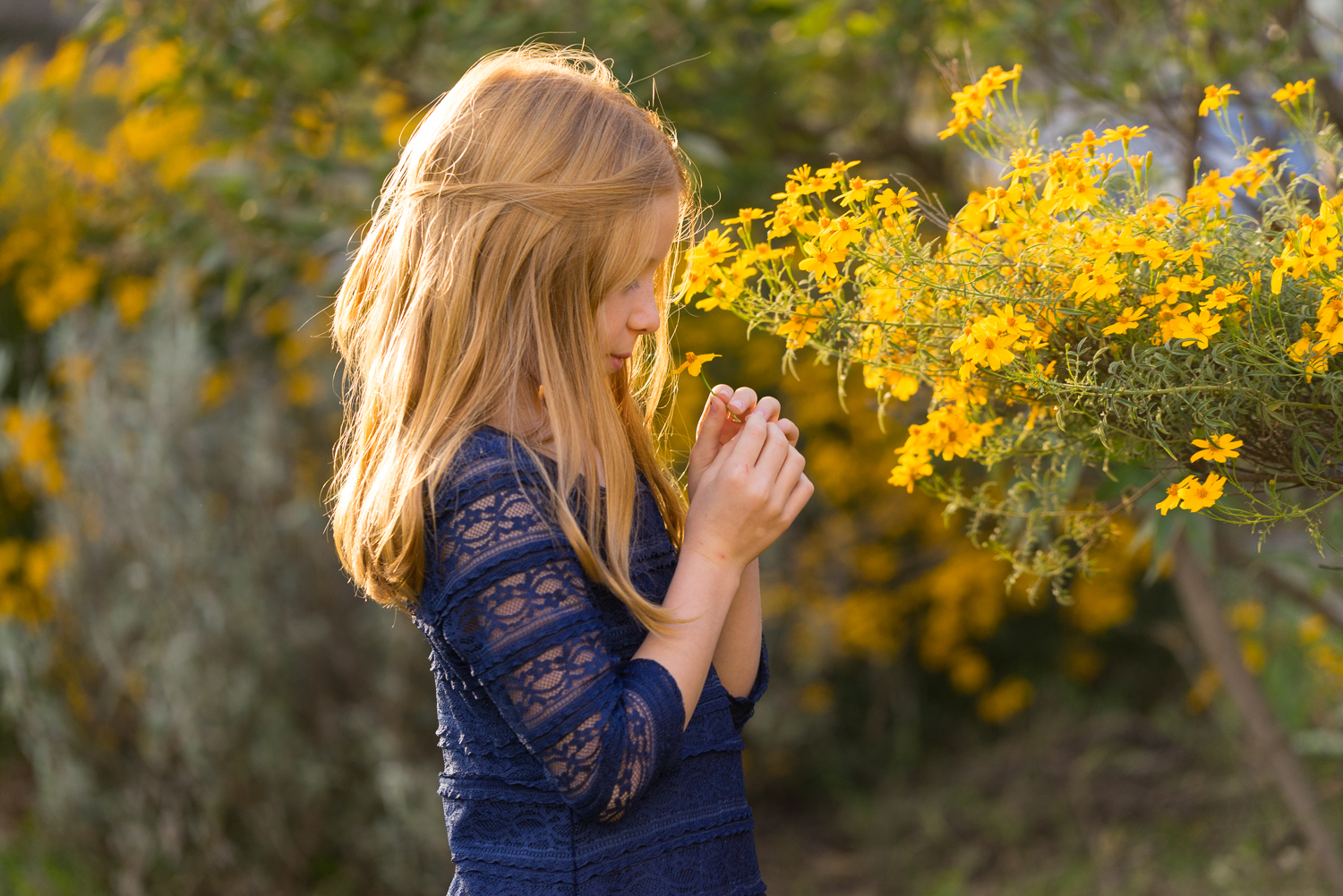 10 year old girl with yellow flowers-Danville family photographer