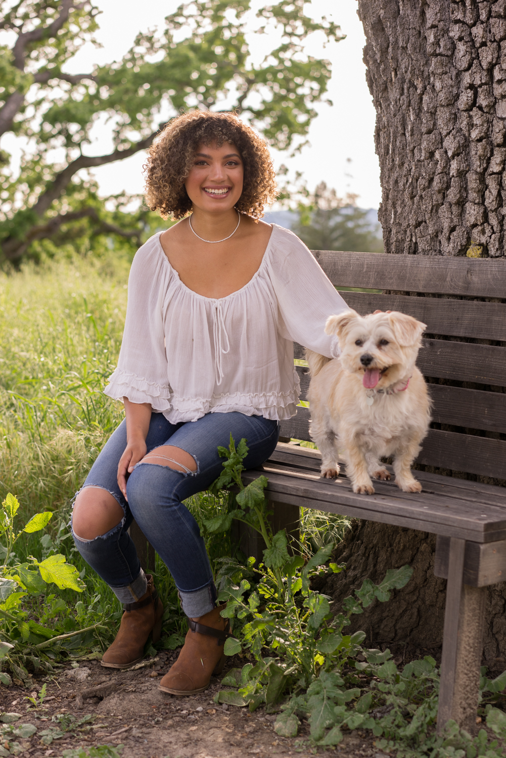 high school senior with dog-Danville portrait photographer