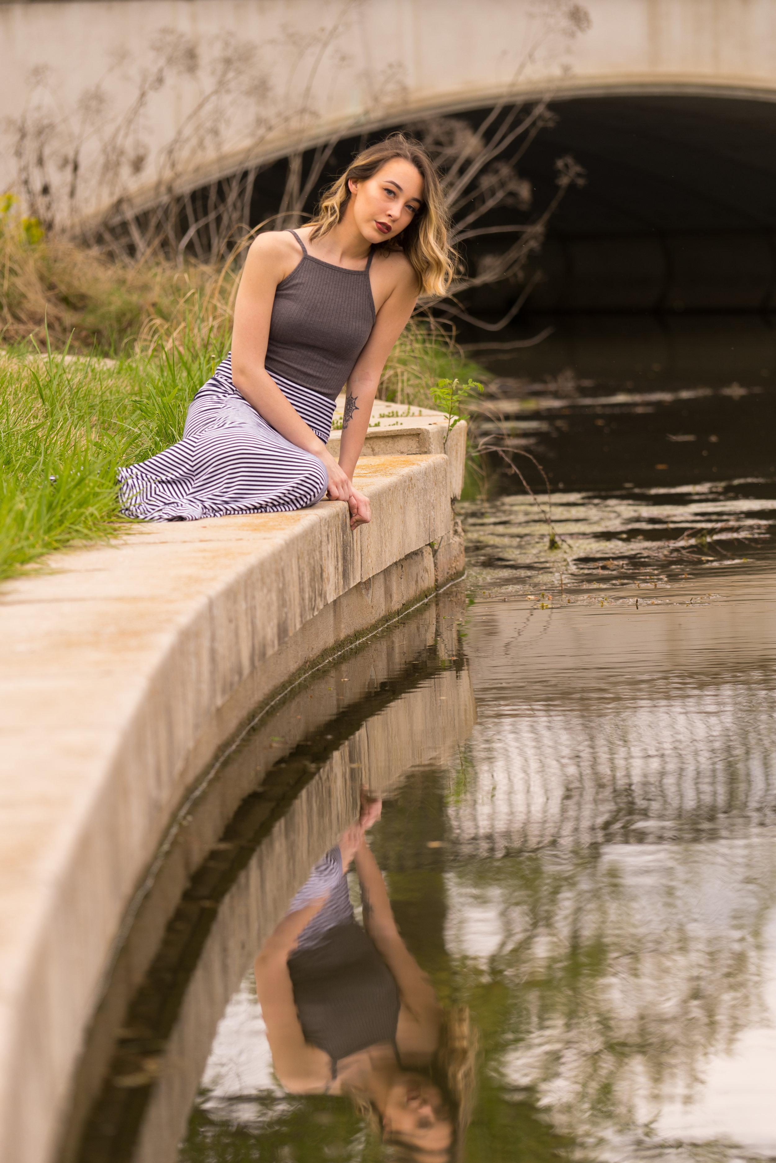 senior with lake reflection - Bay area portraits